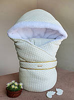 Зимний трикотажный конверт-одеяло «Winter style»  (подклад махра) молочный, фото 1