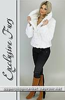 Женская шуба из искусственной норки Шадэ, белый цвет
