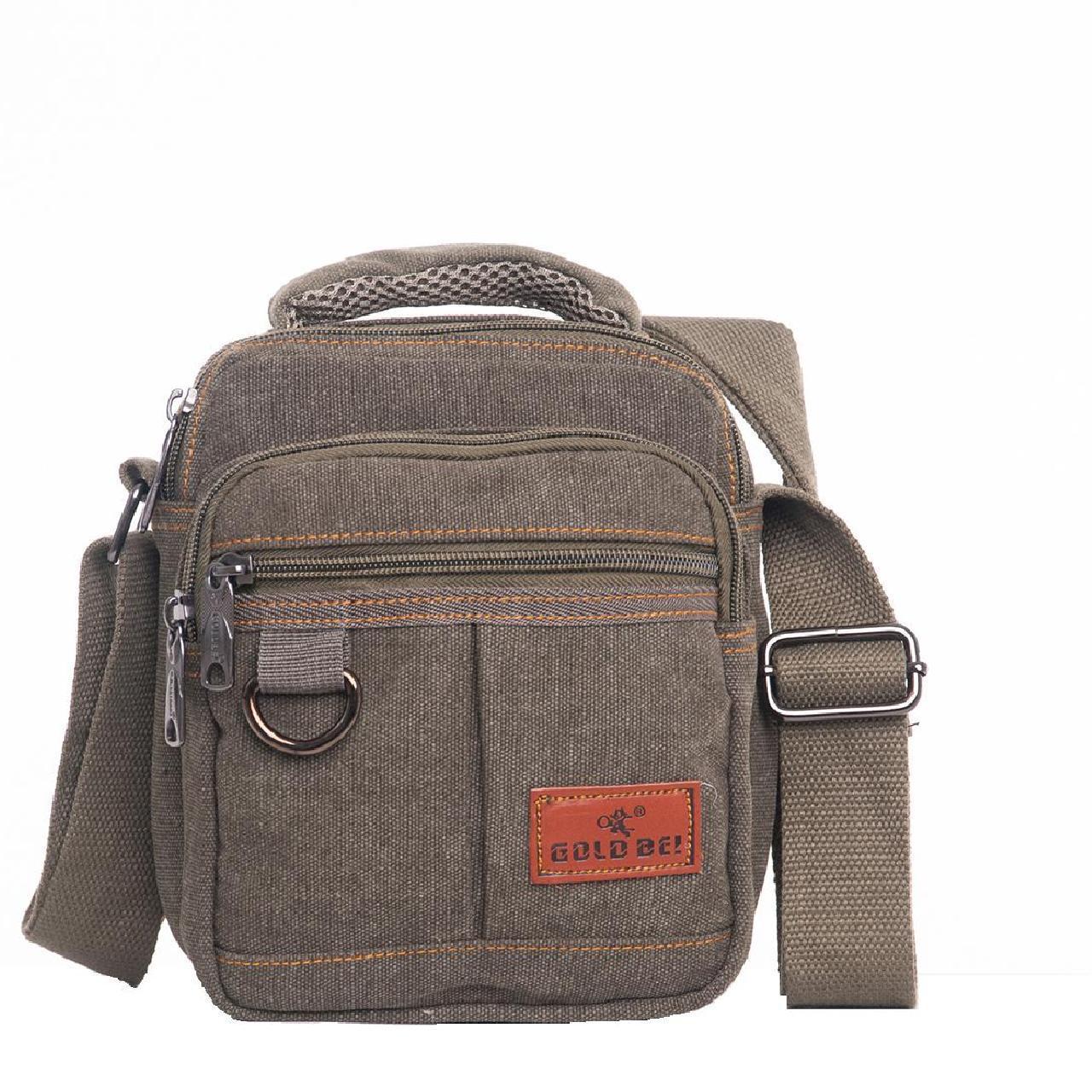 Мужская сумка GOLD BE вертикальная, 17х21х12 брезент цвет хаки ксС666х