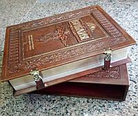 БИБЛИЯ с гравюрами Гюстава ДОРЕ. В футляре. На замках. Авторская работа. Кожаный переплёт. Теснение.