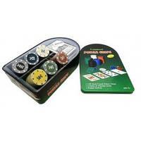 Покерный набор в металлической коробке на 120 фишек с номиналом