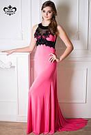 """Вечернее платье в пол """"Кассандра""""-розовый (со шлейфом), фото 1"""