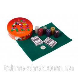 Покерный набор на 120 фишек в круглой металлической коробке Poker Chips