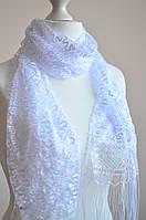 Шарф ажурный с бахрамой (белый)