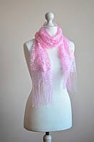 Шарф ажурный с бахрамой (розовый)
