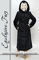 Женская шуба из искусственного каракуля, черный цвет