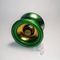 Йо-йо зеленое, алюминиевое с подшипником. Уценка!