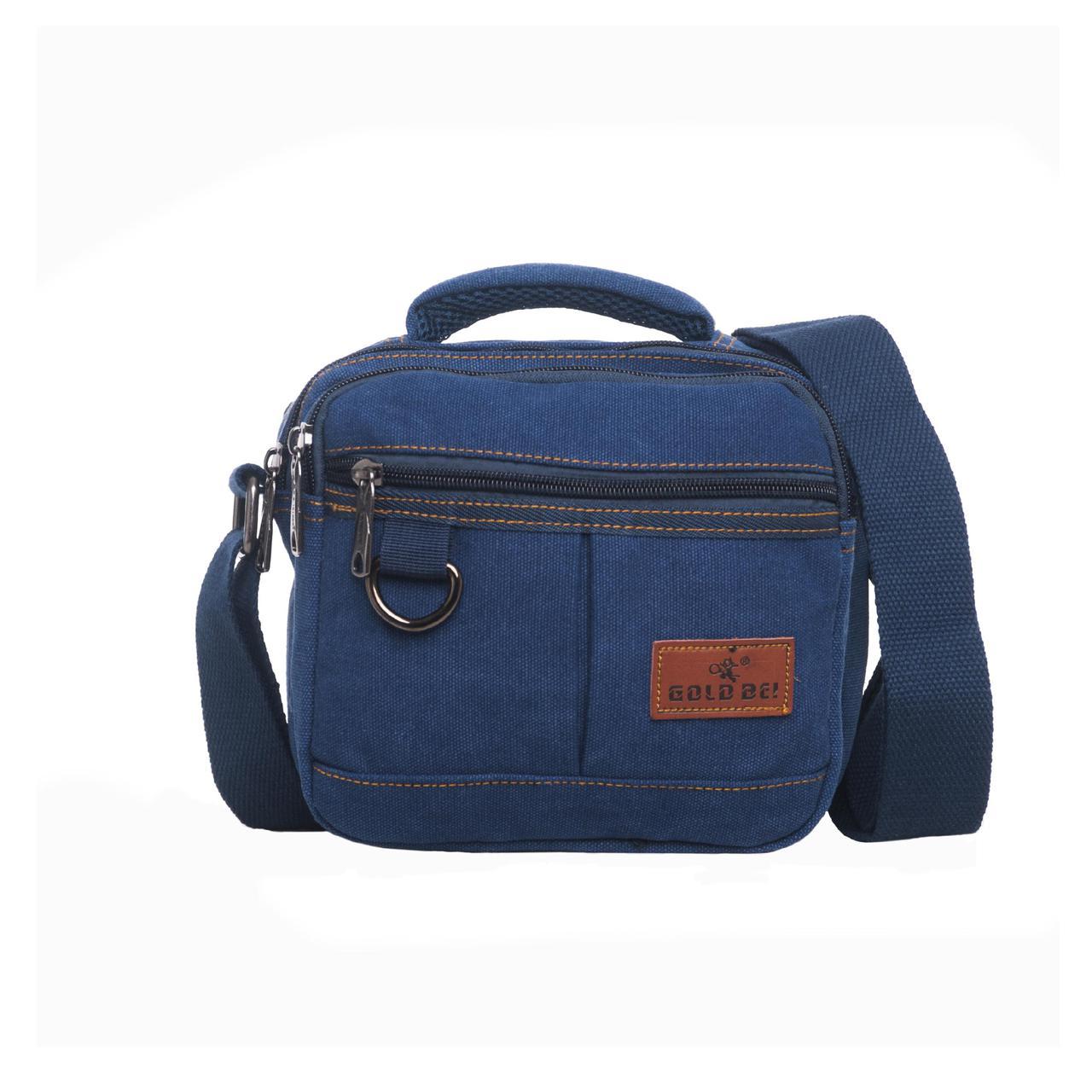 Мужская сумка GOLD BE горизонтальная  20х19х12 материал синий брезент ксС555син