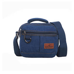 Мужская сумка GOLD BE горизонтальная  20х19х12 материал синий брезент ксС555син, фото 2