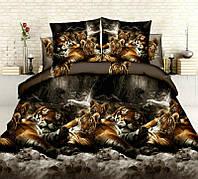 Комплект постельного белья 3Д двуспальный тигры