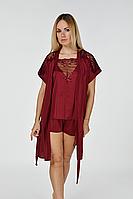 Шелковый комплект для дома пижама + халат К510п Бордовый
