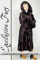 Женская шуба из искусственной норки, бордовый цвет №36