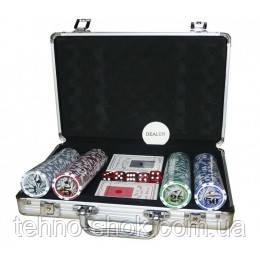 Покерный набор в алюминиевом кейсе на 200 фишек с номиналом