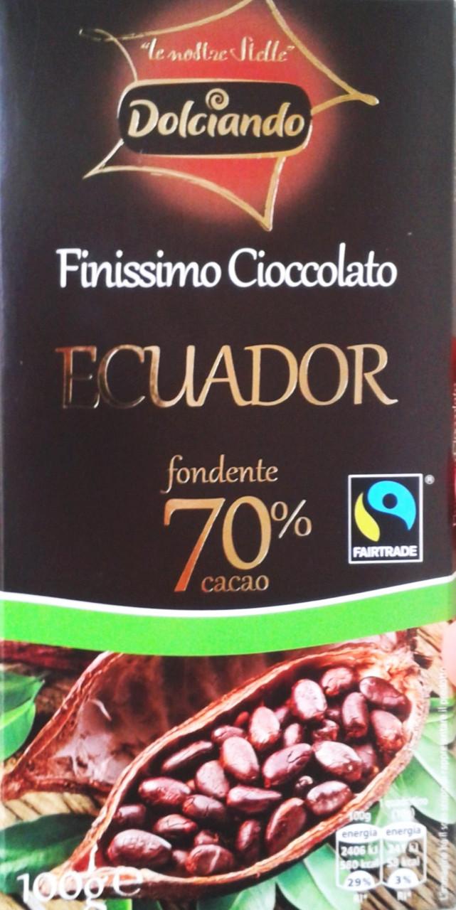 Гіркий класичний шоколад Dolciando Ecuador 70% какао, 100 гр.