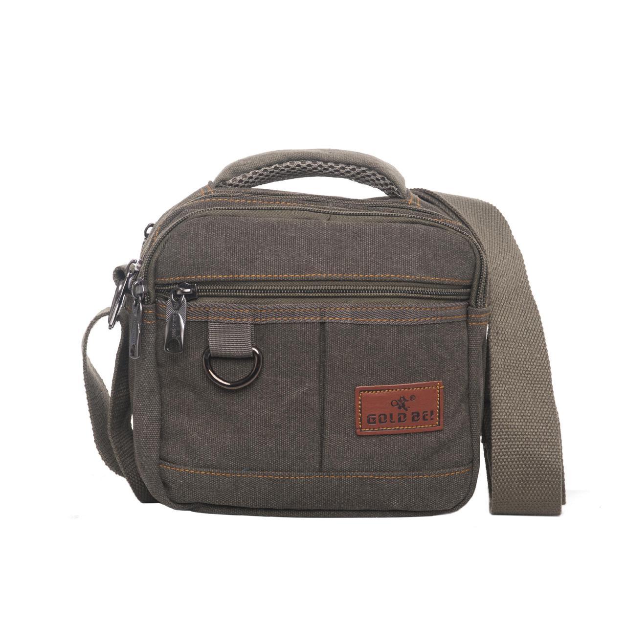 Мужская сумка GOLD BE горизонтальная 20х19х12 ткань брезент цвет хаки ксС555х