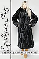 Женская шуба из искусственной норки, черный цвет №4