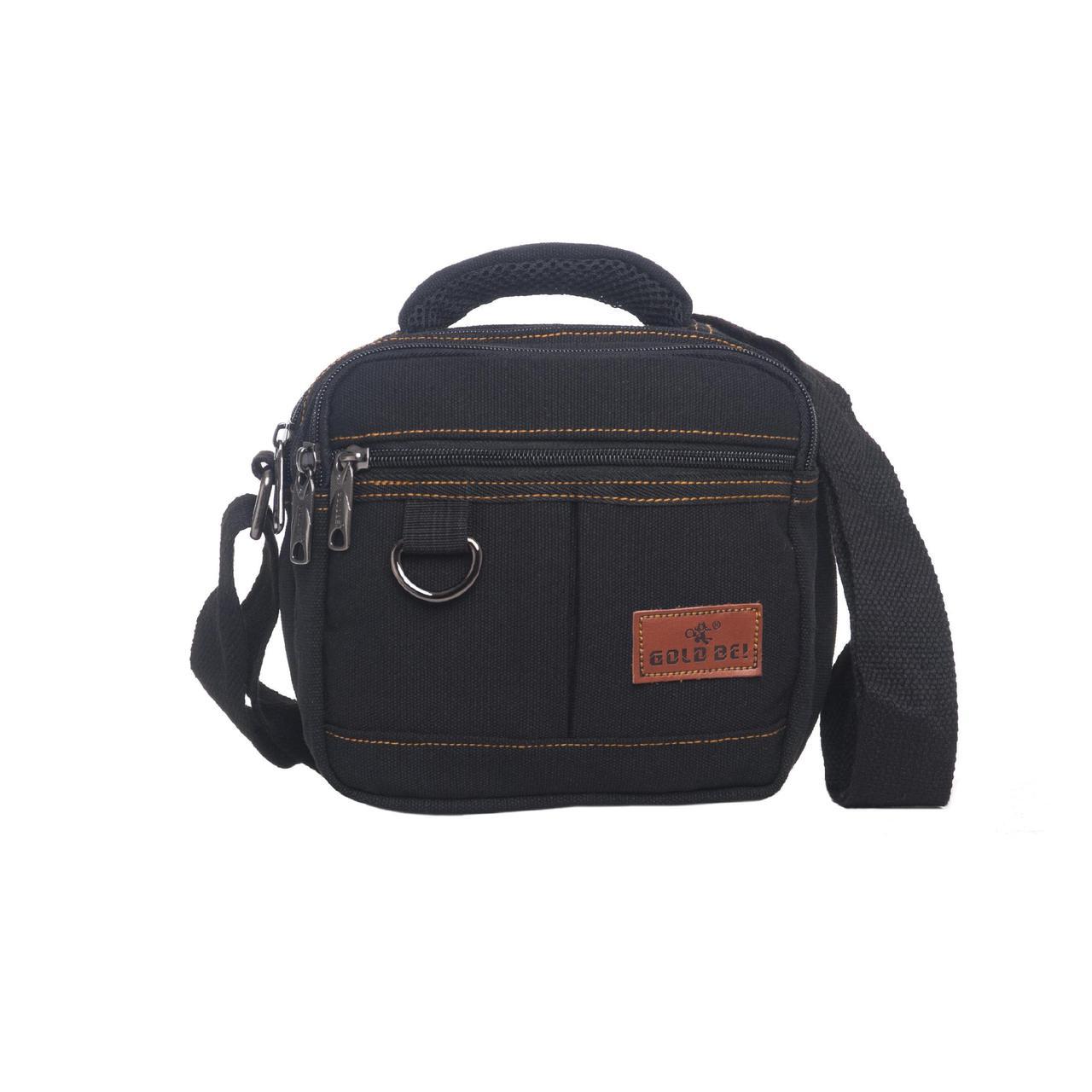 Мужская сумка GOLD BE горизонтальная чёрная 20х19х12 материал брезент ксС555ч