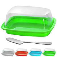 Масленка R83514 пластиковая, с акриловой крышкой, разные цвета, 18*11.5*7.5см, масленка, столовая посуда, лимонницы, сырницы, посуда, посуда кухонная