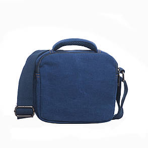 Чоловіча сумка горизонтальна GOLD BE 20х21х12 синя тканина брезент ксС999син, фото 2