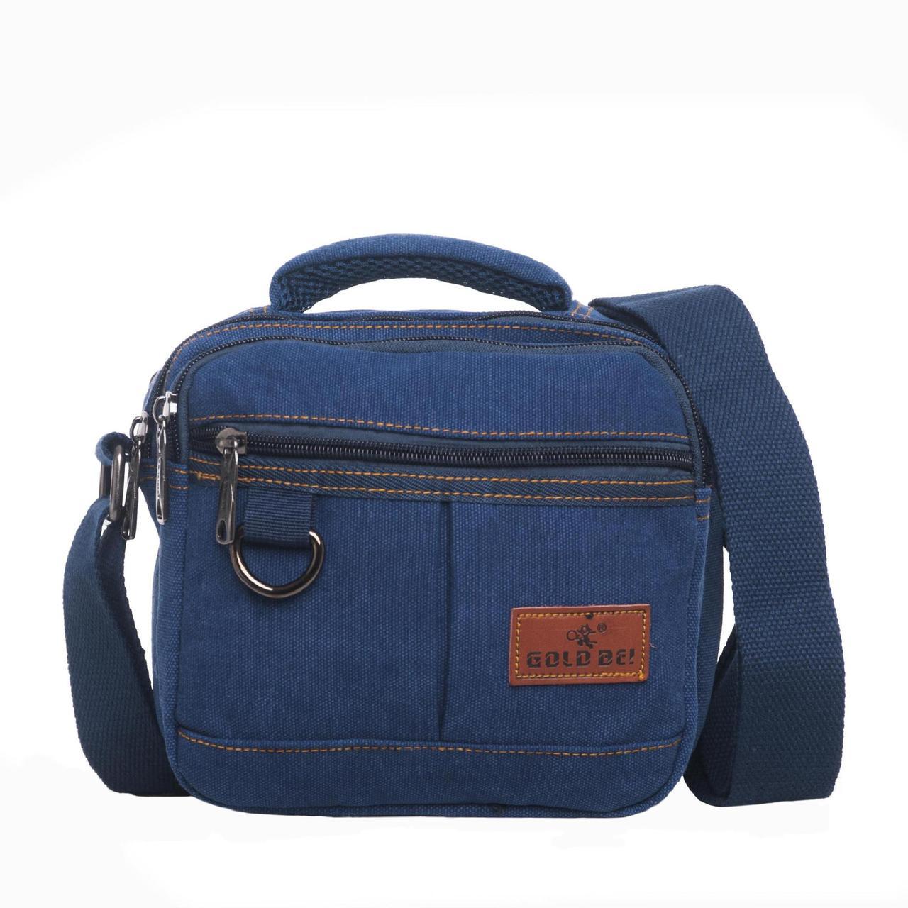 Мужская сумка горизонтальная GOLD BE 20х21х12 синяя ткань брезент ксС999син