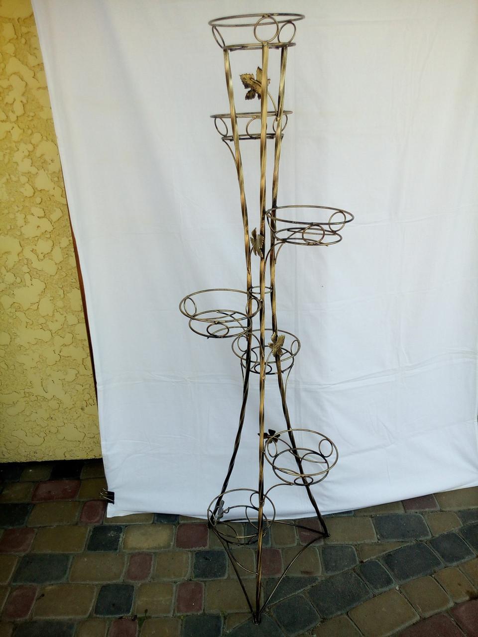 """Подставка кованая для цветов """"Башня крученая"""" на 7 вазонов"""