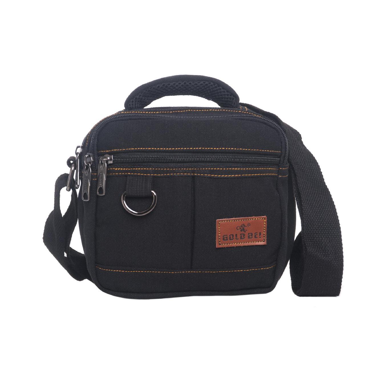 Мужская сумка горизонтальная GOLD BE 20х21х12 чёрная ткань брезент ксС999ч