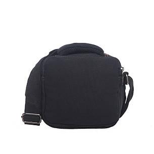 Мужская сумка горизонтальная GOLD BE 20х21х12 чёрная ткань брезент ксС999ч, фото 2