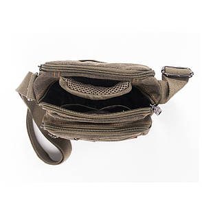 Мужская сумка горизонтальная GOLD BE 20х21х12 хаки ткань брезент ксС999х, фото 2