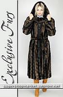 Женская шуба из искусственной норки, коричневый цвет №36