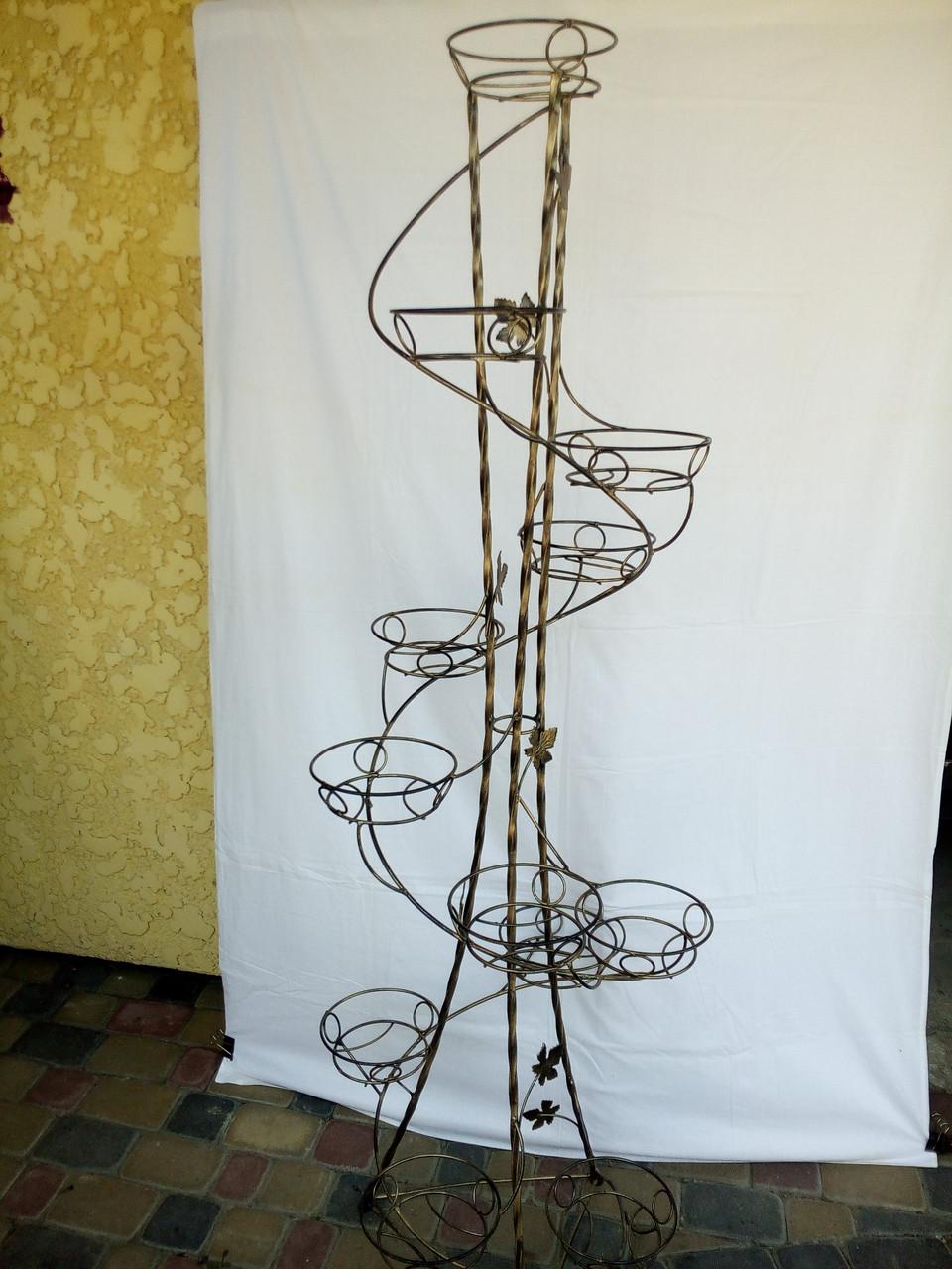 """Подставка кованая для цветов """"Спираль крученая"""" на 12 вазонов"""