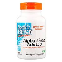 Лучшая альфа-липоевая кислота, 150 мг, 120 капсул, Doctor's Best, Best Alpha Lipoic Acid