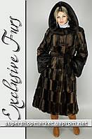Женская шуба из искусственной норки, коричневый цвет №13