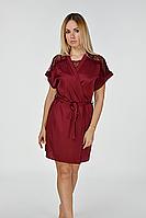 Шелковый бордовый халат с кружевом Х510п