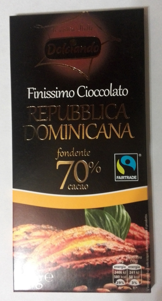 Горький классический шоколад Dolciando Republica Domenicana 70% какао, 100 гр.