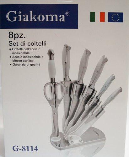 Кухонные ножи с подставкой. Набор 8 шт. Giakoma Италия.