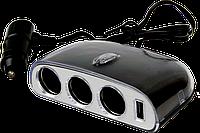 Разветвитель тройник прикуривателя AW07-15 на 12V/24V, USB 1000mA, 70W AUTO WELLE