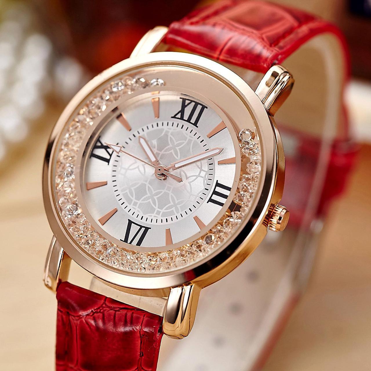 Часы наручные, Ремешок: Красный, Белый циферблат, Римские цифры + Метки