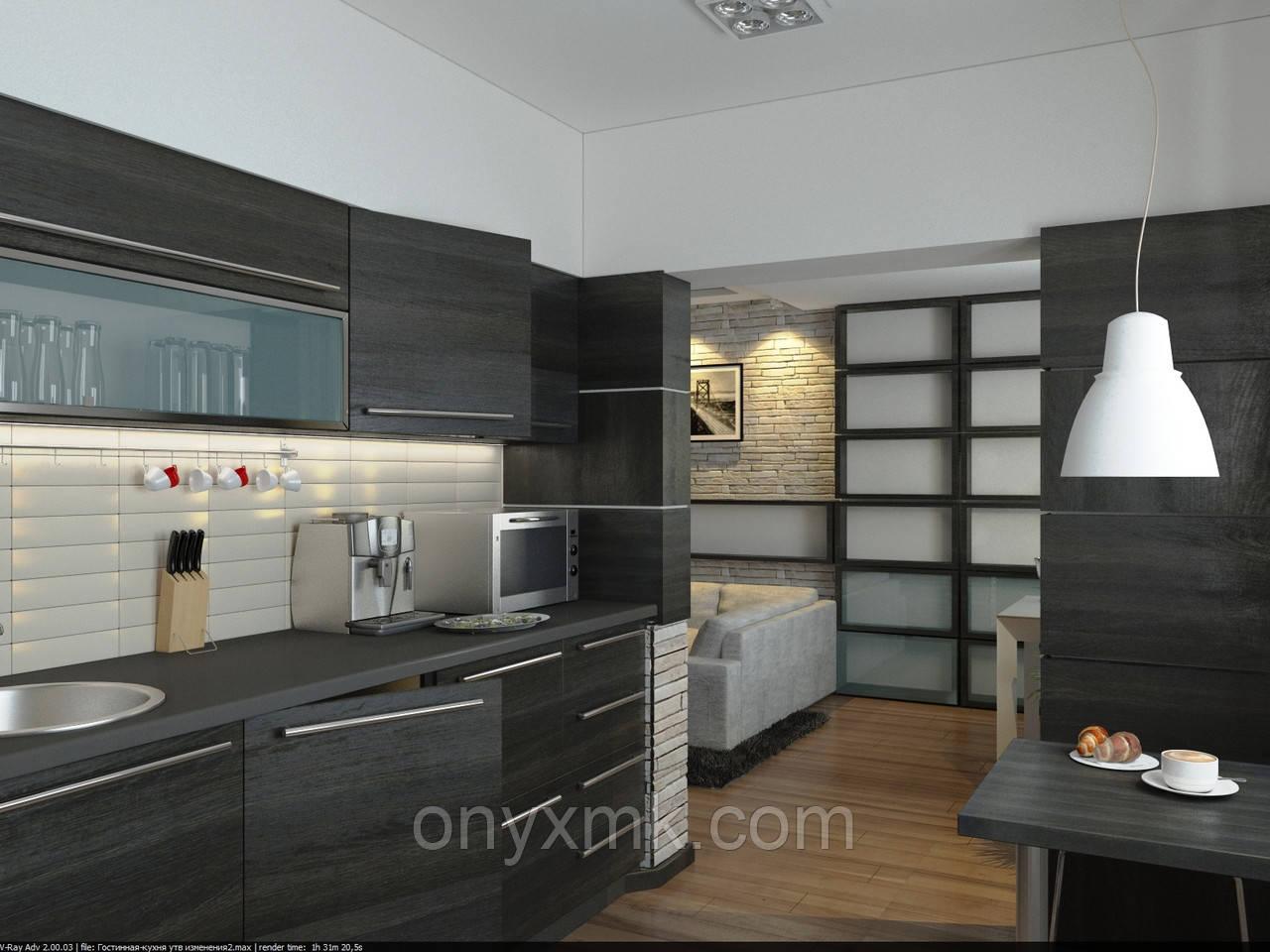 Кухня с деревянными фасадами (шпонированная)