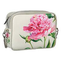 Молодежная сумка на цепочке белая с пионом CHE2_CLF009_SBR
