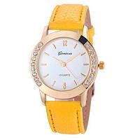 Часы наручные, Geneva, Ремешок: Желтый, Белый циферблат, Римские цифры, фото 1