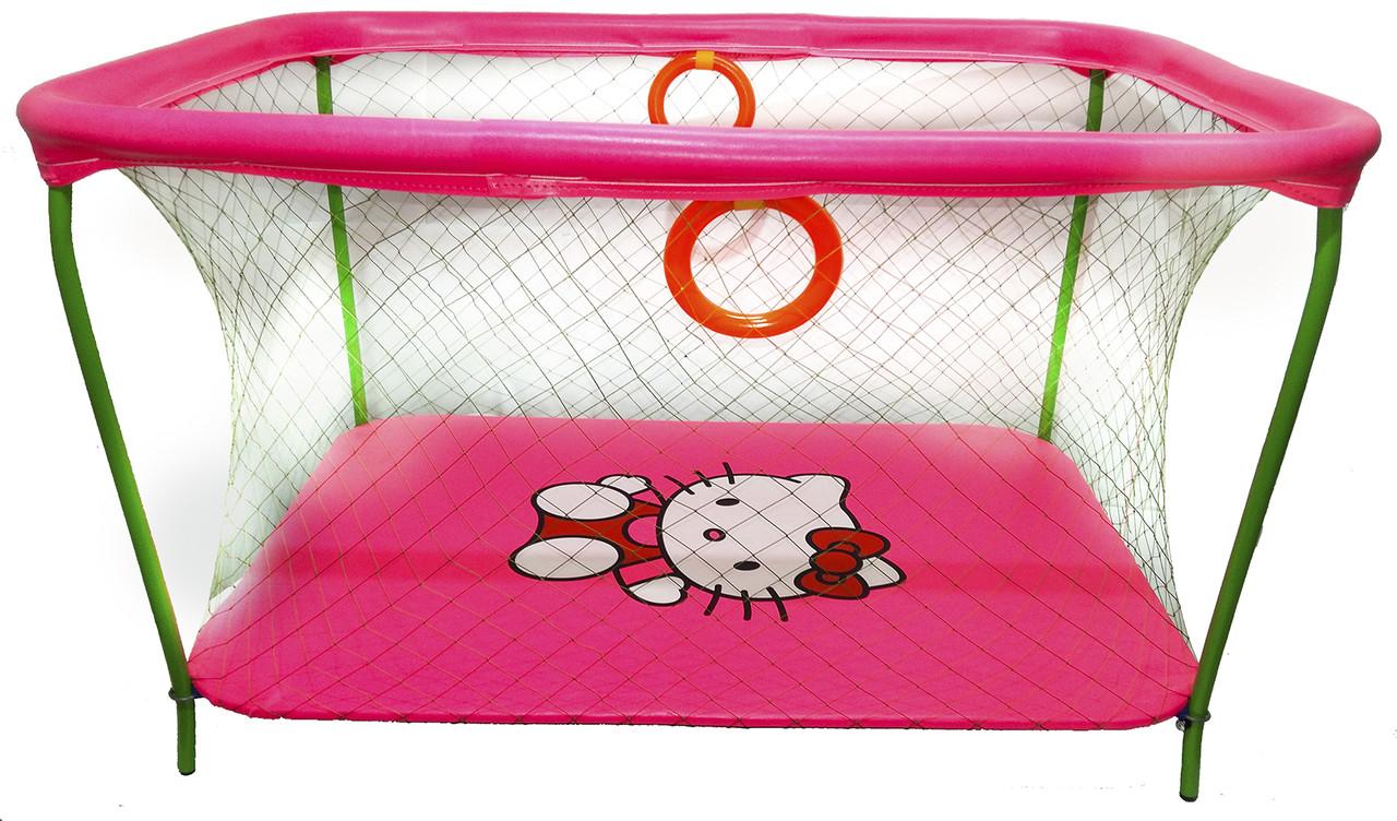 Манеж детский игровой KinderBox люкс Малиновый Hello Kitty с крупной сеткой (km 50)