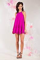 Платье с перфорацией, разные цвета/фуксия р.36,38