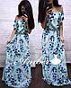 Длинное цветочное платье в пол с открытыми плечами (в расцветках) 19189PL