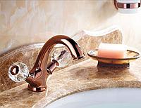 Смеситель для умывальника вентильный в цвете розового золота 3-048, фото 1