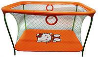 Манеж детский игровой KinderBox люкс Оранжевый Hello Kitty с крупной сеткой (km 53)