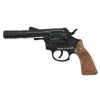 Пистолет Interpol38 12-зарядный  23 см  стреляет пластиковыми пистонами  открытая коробка