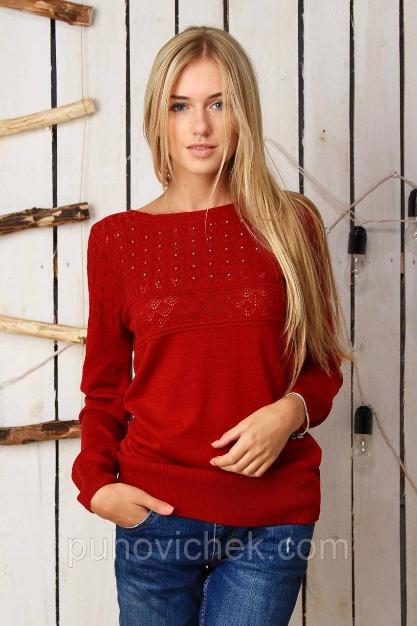 Красивая женская кофта ажурная вязка с длиным рукавом