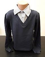 Свитер, обманка с рубашкой подростковая для мальчика