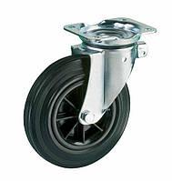 Колесо поворотное 200x50 полипропилен/черная резина, подшипник скольжения