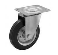 Колесо поворотное 160x40 сталь/черная резина, роликовый подшипник